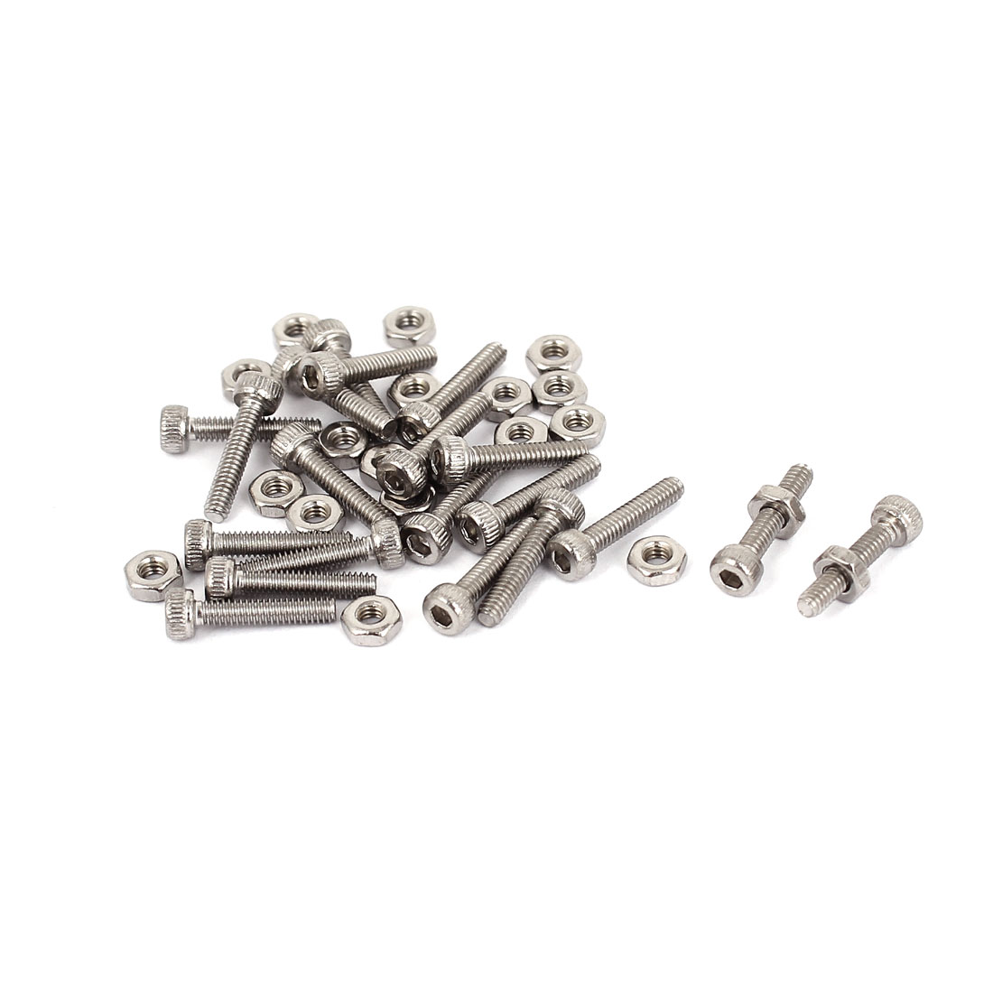 M2x10mm Stainless Steel Hex Socket Head Knurled Cap Screws Bolts Nut Set 20Pcs