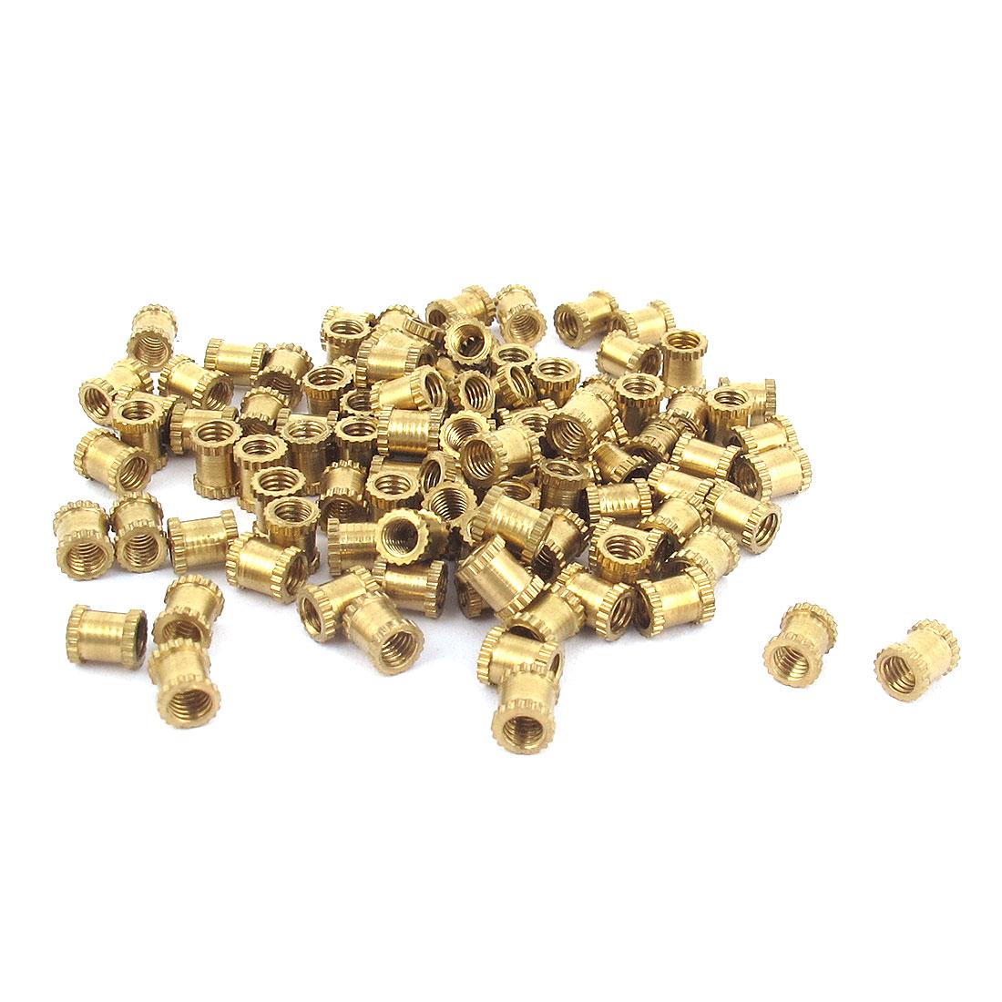 M3x5mm Threaded Round Metal Knurl Thread Insert Nuts Brass Tone 100Pcs