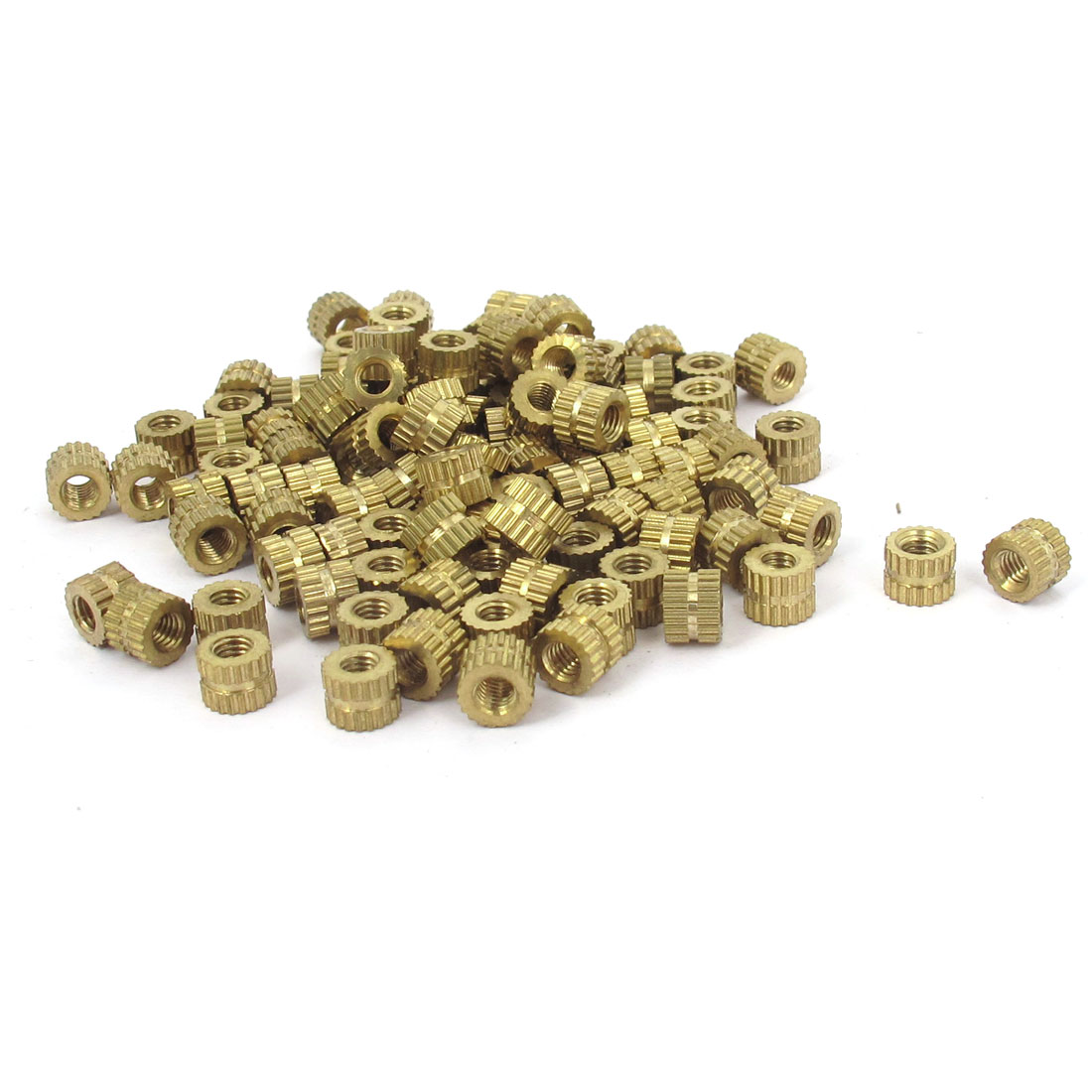 M3x4mm Threaded Round Metal Knurl Thread Insert Nuts Brass Tone 100Pcs