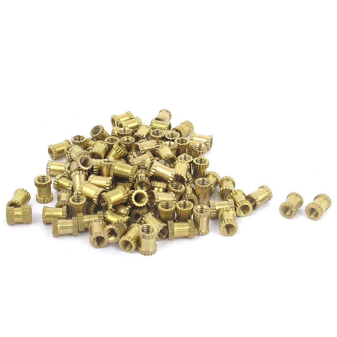 M3x6mm Threaded Round Metal Knurl Thread Insert Nuts Brass Tone 100Pcs