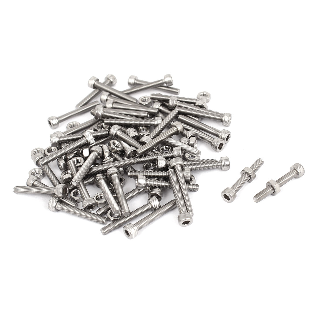 M3x20mm Stainless Steel Hex Socket Head Knurled Cap Screws Bolts Nut Set 50Pcs