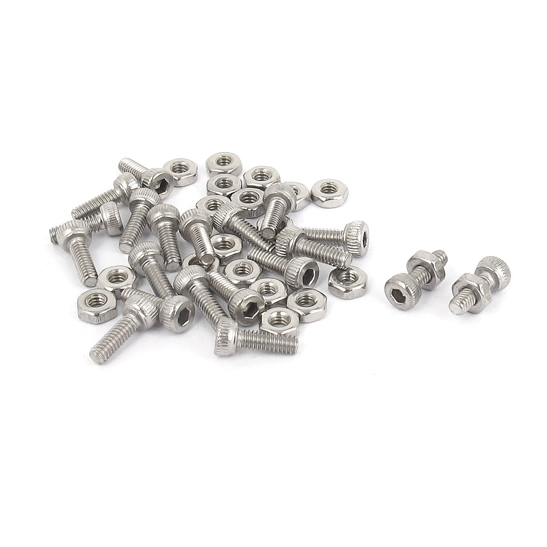 M2x6mm Stainless Steel Hex Socket Head Knurled Cap Screws Bolts Nut Set 20Pcs