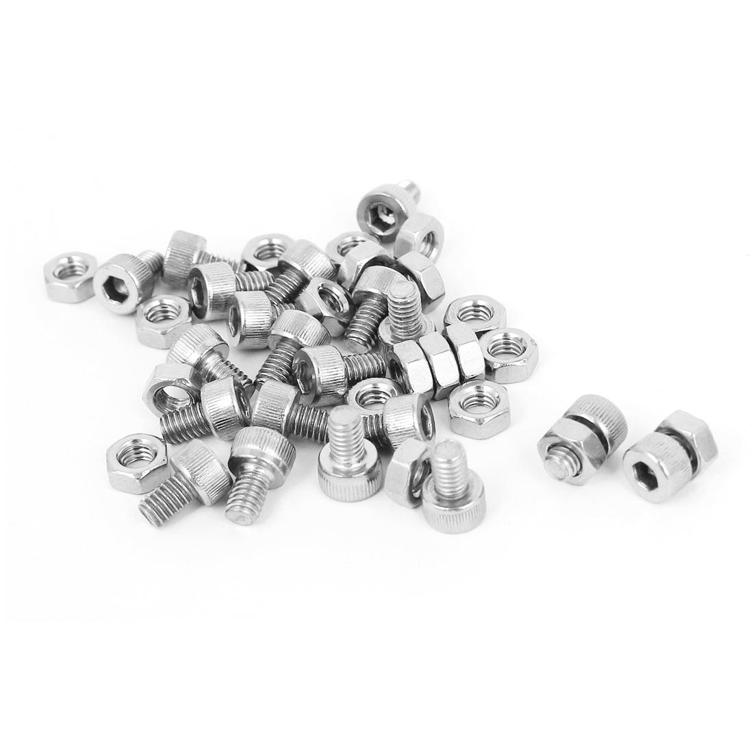 M4x6mm Stainless Steel Hex Socket Head Knurled Cap Screws Bolts Nut Set 20Pcs