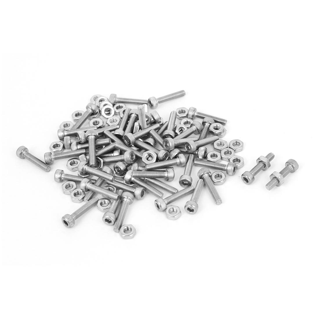 M2.5x12mm Stainless Steel Hex Socket Head Knurled Cap Screws Bolts Nut Set 50Pcs