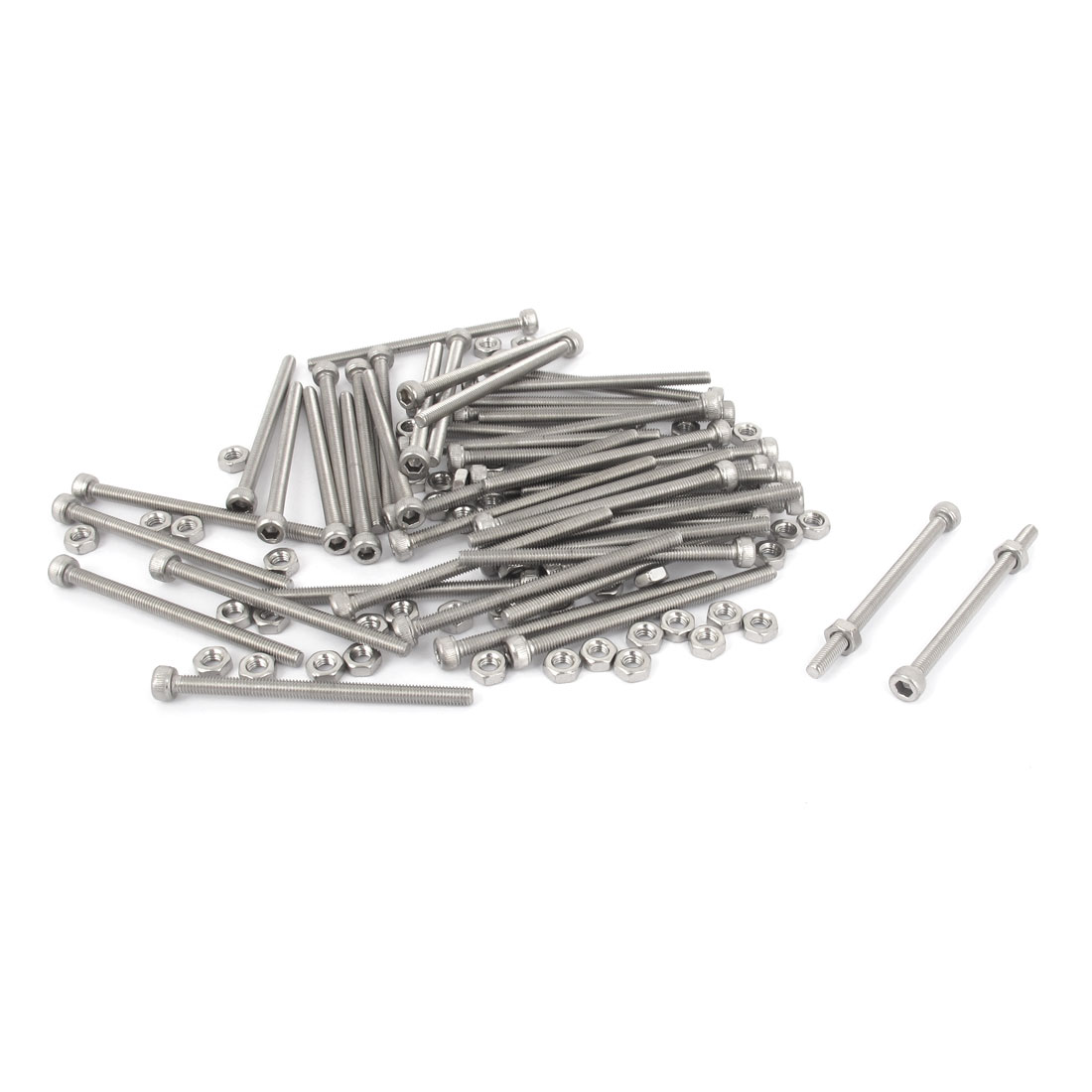 M3x45mm Stainless Steel Hex Socket Head Knurled Cap Screws Bolts Nut Set 50Pcs