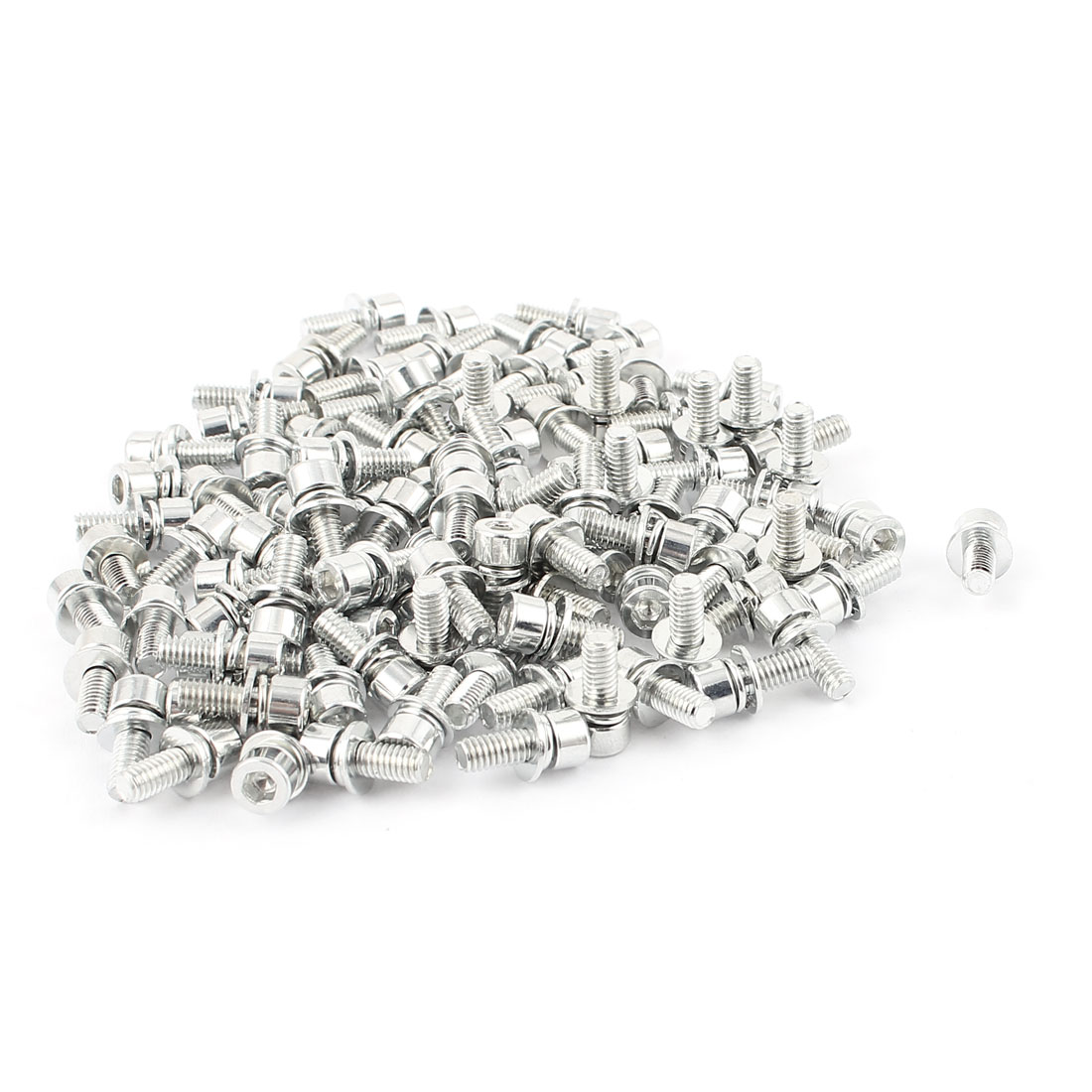 M4x10mmx8mm Zinc Plated Hex Socket Round Head Screws Bolt 100pcs w washers