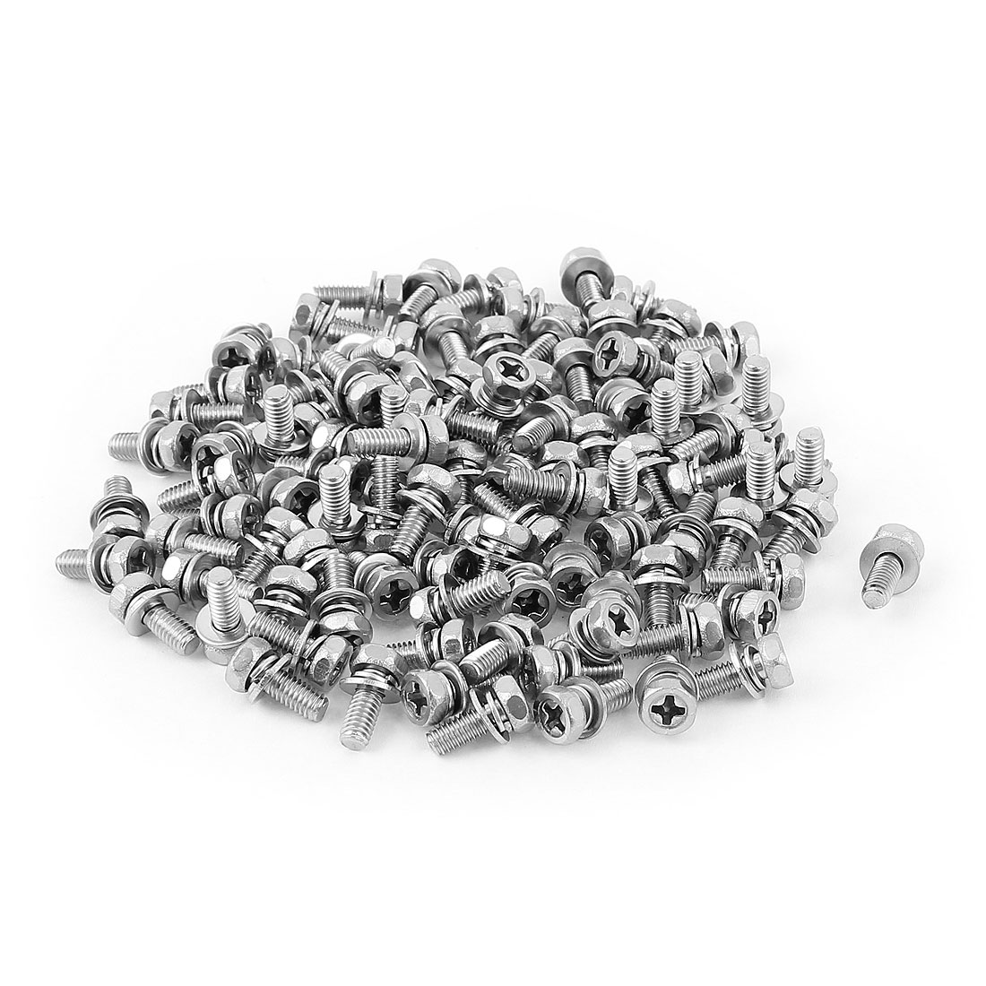 M4x10mmx8mm Hex Bolts Tap Phillips Head Screws 100pcs w Flat Split Washers