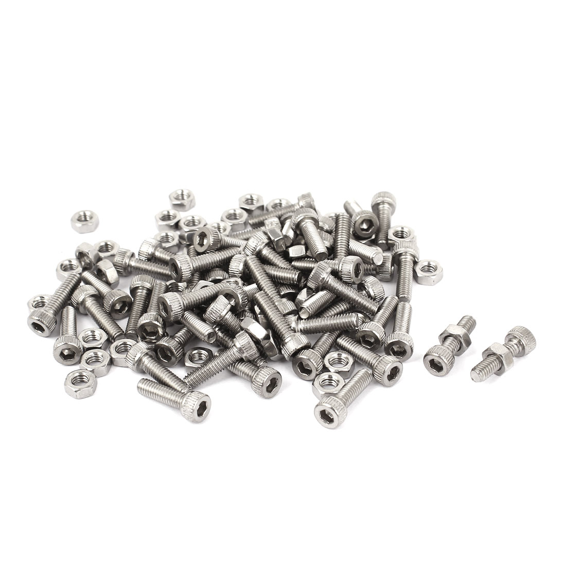 M4x14mm Stainless Steel Hex Socket Head Knurled Cap Screws Bolts Nut Set 50Pcs