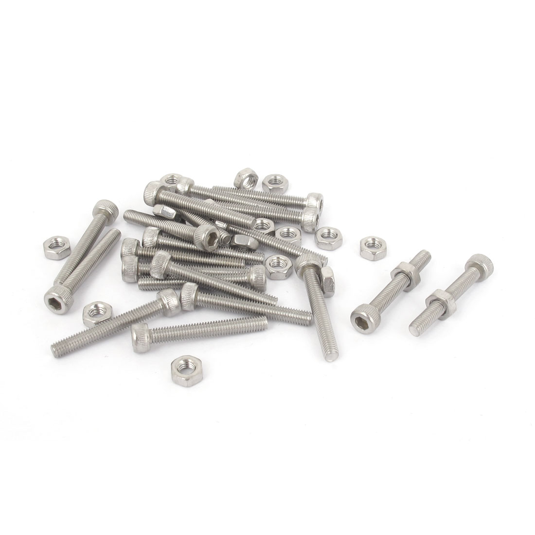 M3x22mm Stainless Steel Hex Socket Head Knurled Cap Screws Bolts Nut Set 20Pcs