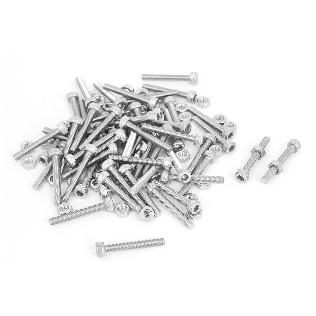 M3x22mm Stainless Steel Hex Socket Head Knurled Cap Screws Bolts Nut Set 50Pcs