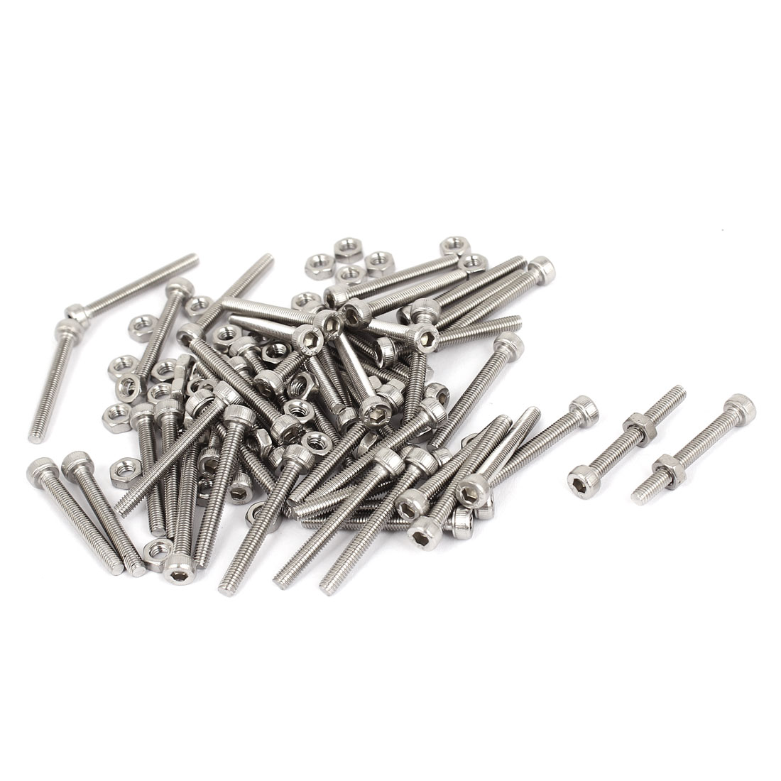 M3x25mm Stainless Steel Hex Socket Head Knurled Cap Screws Bolts Nut Set 50Pcs