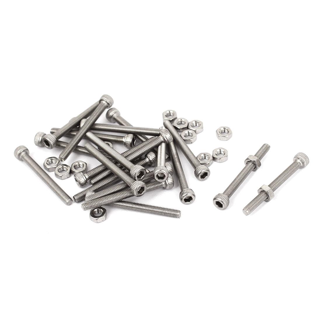 M3x30mm Stainless Steel Hex Socket Head Knurled Cap Screws Bolts Nut Set 20Pcs