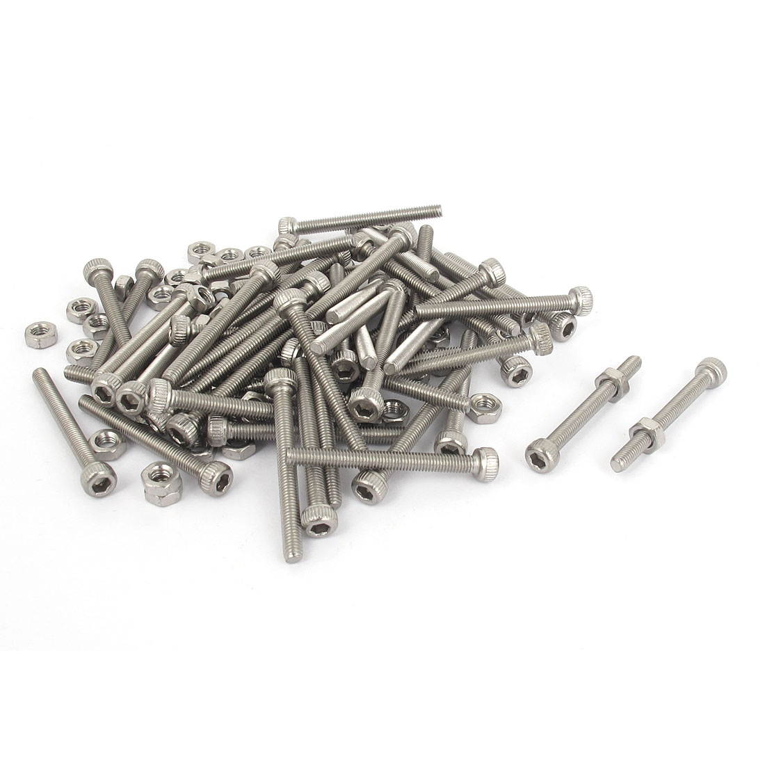 M3x30mm Stainless Steel Hex Socket Head Knurled Cap Screws Bolts Nut Set 50Pcs