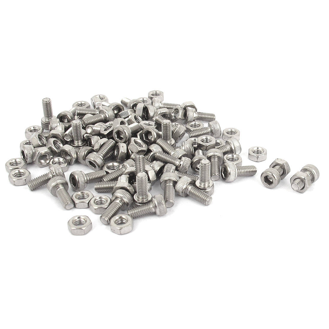 M3x7mm Stainless Steel Hex Socket Head Knurled Cap Screws Bolts Nut Set 50Pcs