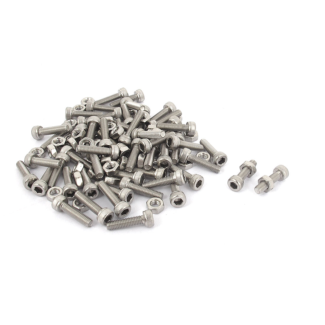 M3x12mm Stainless Steel Hex Socket Head Knurled Cap Screws Bolts Nut Set 50Pcs