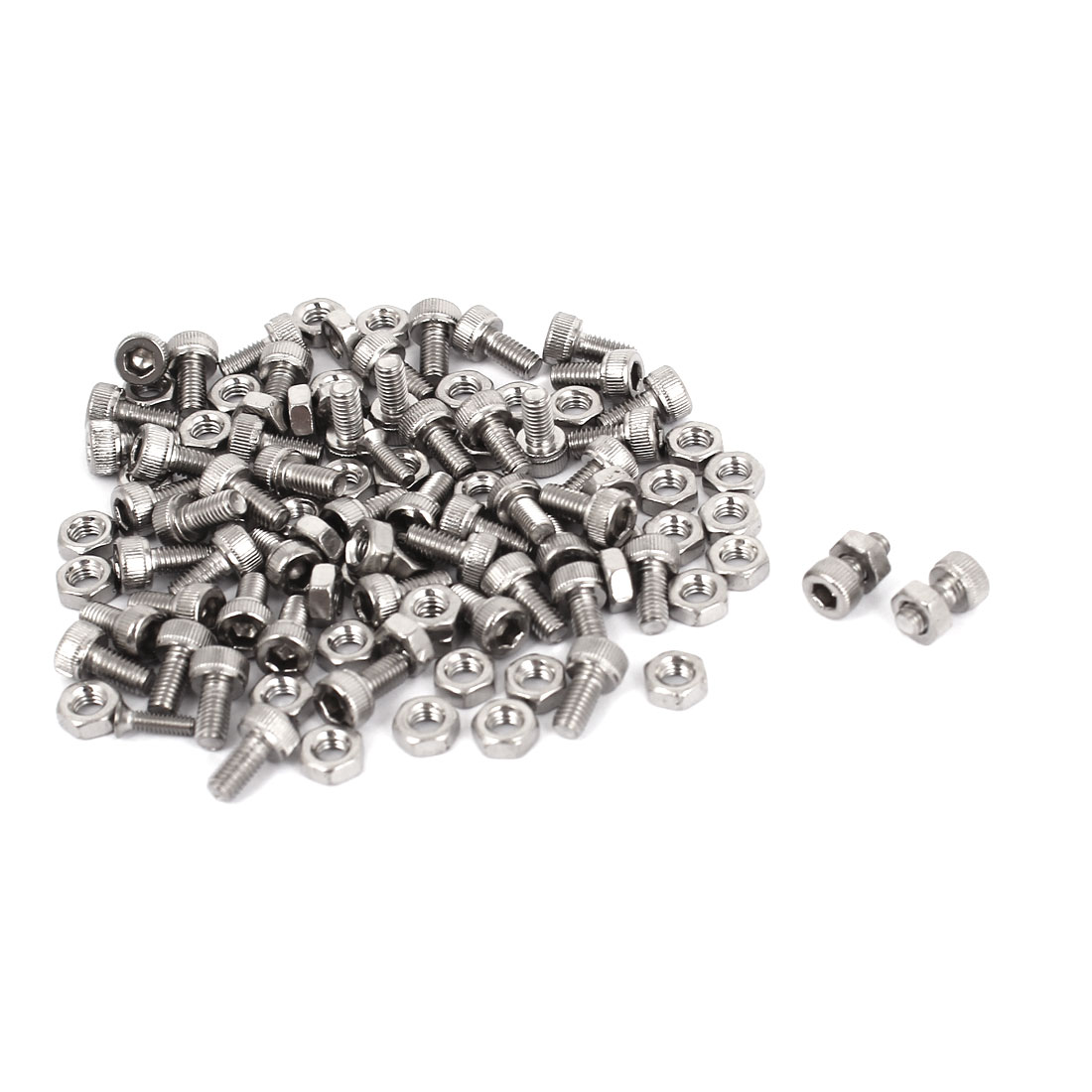 M3x6mm Stainless Steel Hex Socket Head Knurled Cap Screws Bolts Nut Set 50Pcs