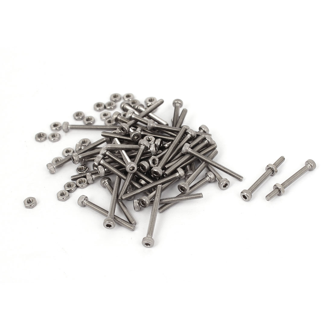 M2x20mm Stainless Steel Hex Socket Head Knurled Cap Screws Bolts Nut Set 20Pcs