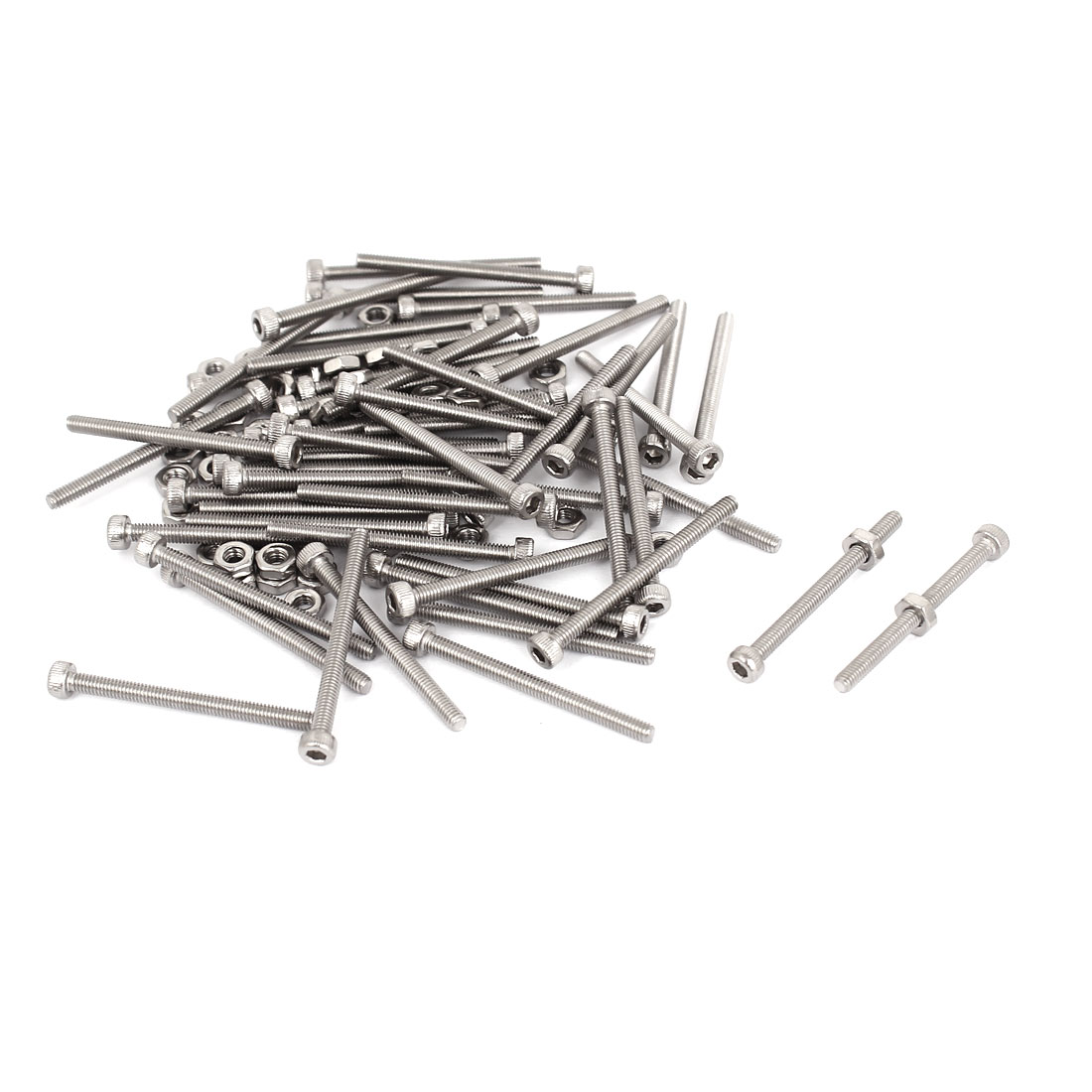 M2.5x30mm Stainless Steel Hex Socket Head Knurled Cap Screws Bolts Nut Set 50Pcs