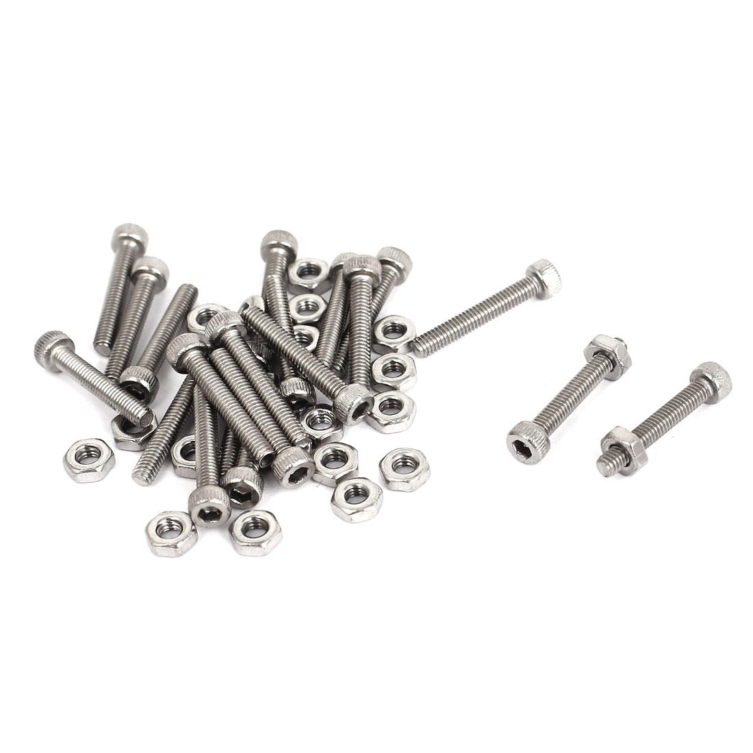 M2.5x16mm Stainless Steel Hex Socket Head Knurled Cap Screws Bolts Nut Set 20Pcs