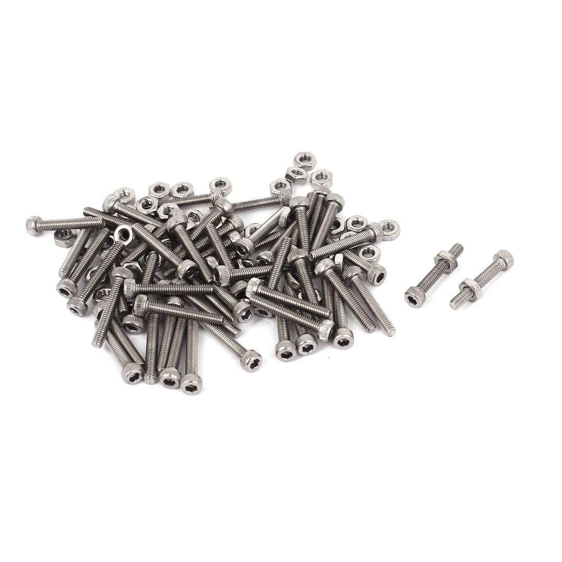 M2.5x16mm Stainless Steel Hex Socket Head Knurled Cap Screws Bolts Nut Set 50Pcs