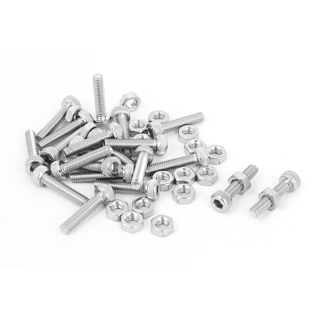 M3x14mm Stainless Steel Hex Socket Head Knurled Cap Screws Bolts Nut Set 20Pcs