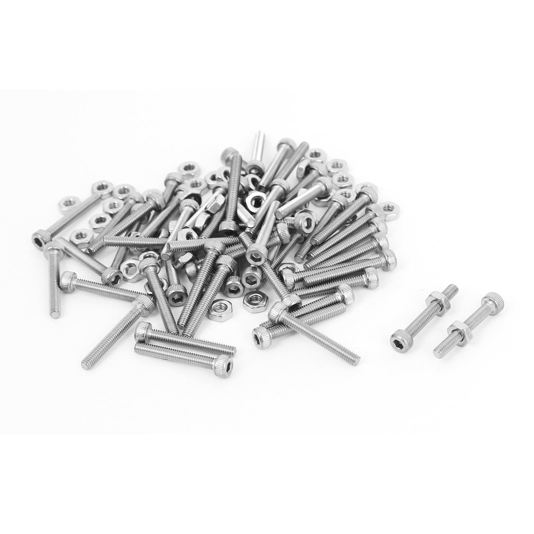 M2.5x18mm Stainless Steel Hex Socket Head Knurled Cap Screws Bolts Nut Set 50Pcs