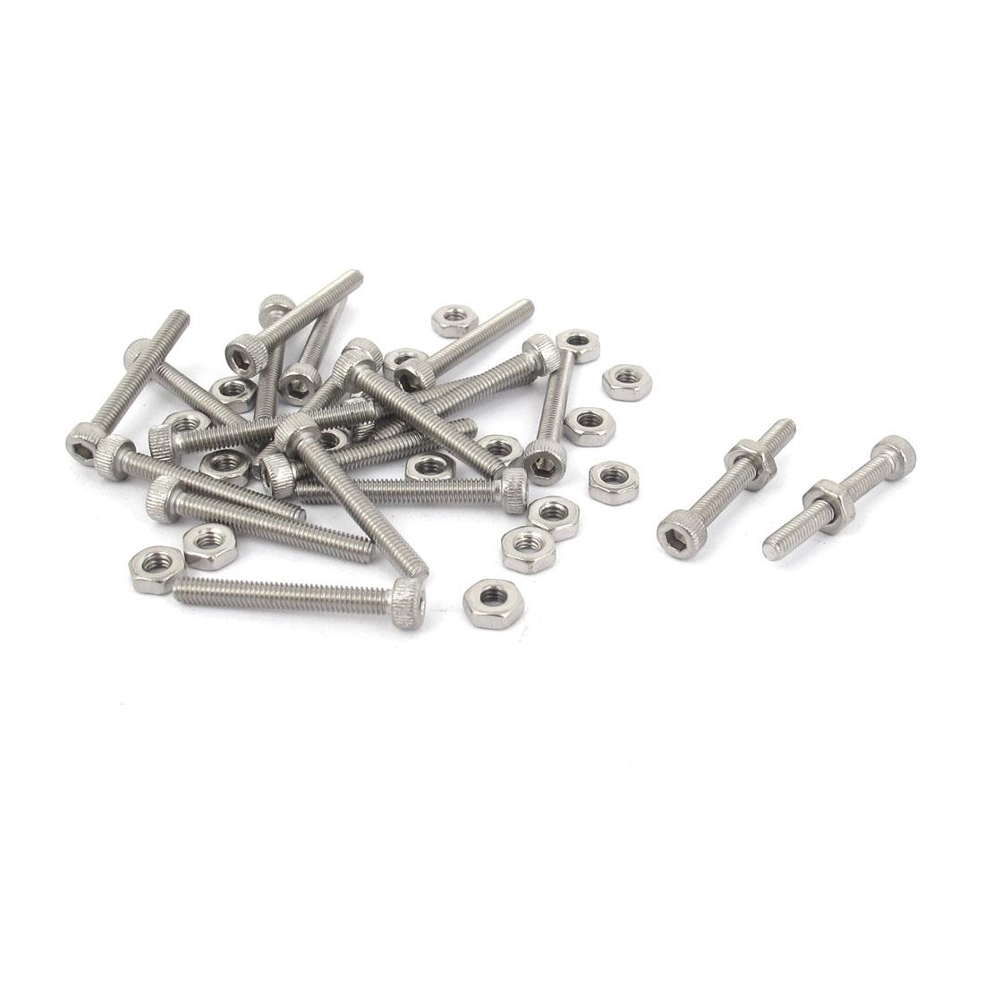 M2.5x20mm Stainless Steel Hex Socket Head Knurled Cap Screws Bolts Nut Set 20Pcs