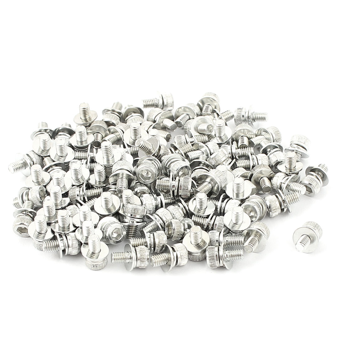 M3x6mmx7mm Zinc Plated Hex Socket Knurl Head Screws Bolt 100pcs w washers