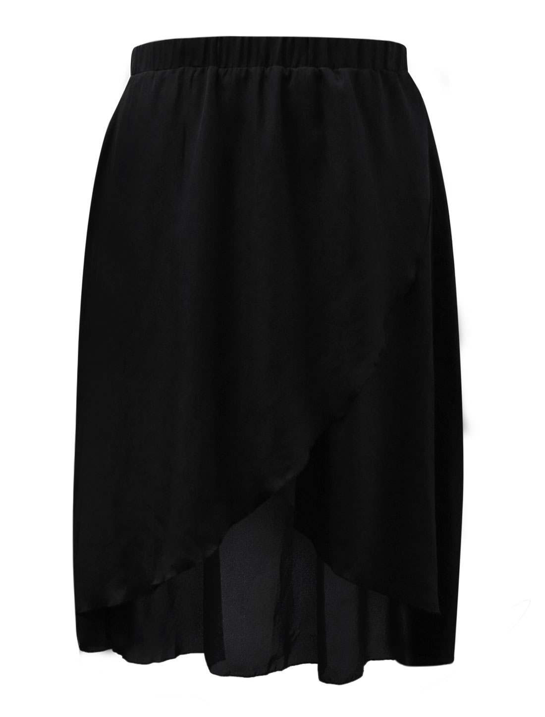 Ladies Elastic Waist Asymmetric Hem Long Skirt Black 3X