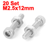M2.5x12mm Stainless Steel Hex Socket Head Knurled Cap Screws Bolts Nut Set 20Pcs