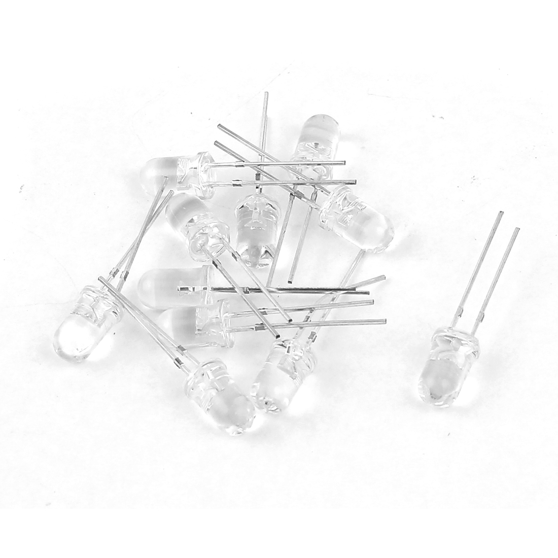 10 Pcs 5mm Diameter Head Ultra Bright White LED Emitting Diode Lights