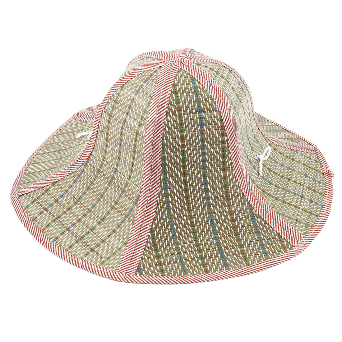 Women Outdoor Red Brim Hexagon Folding Straw Hat
