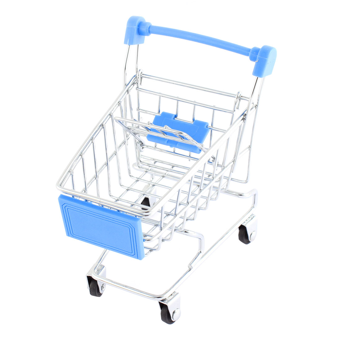 Movable Stainless Steel Shopping Cart Toy Container Silver Tone Light Blue