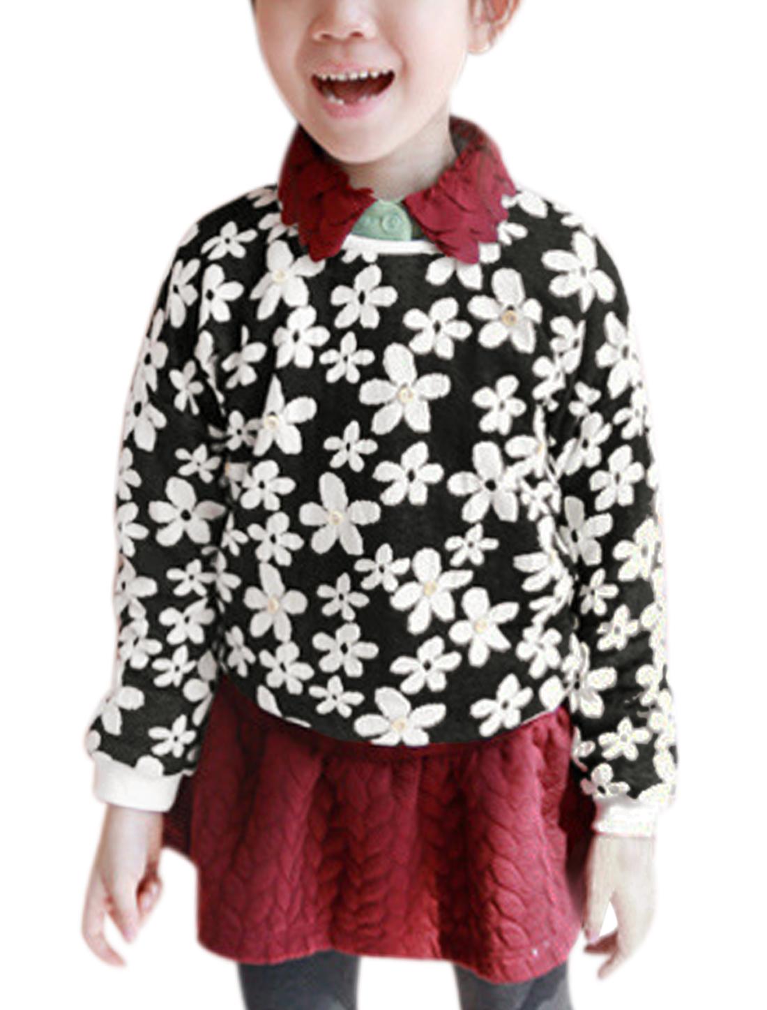 Girl Flower Design Long Sleeve Casual Tee Shirt Black 14