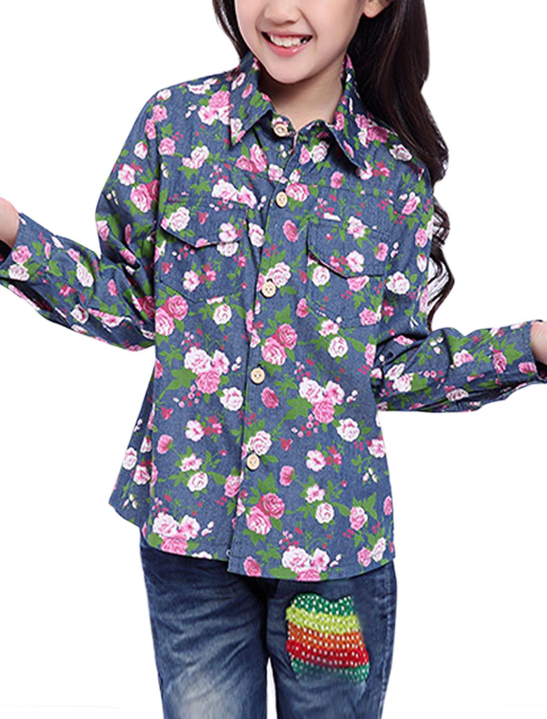 Girls Floral Prints Flap Chest Pockets Front Denim Shirt Blue 10