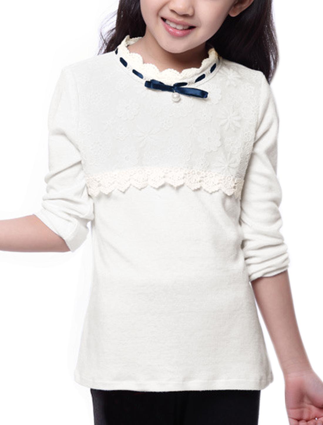Girl Beaded Upper Lace Panel Long Sleeves Top Allegra Kids White 10
