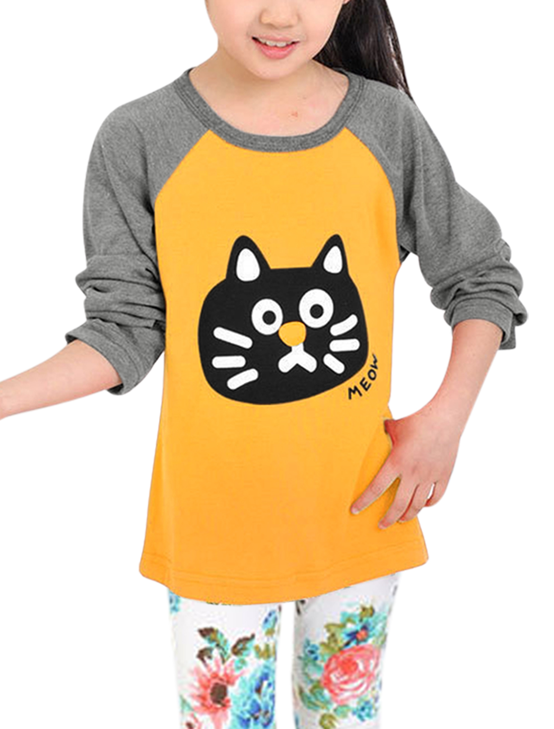 Girls Cat Head Letters Prints Round Neck Tee Yellow 120/7