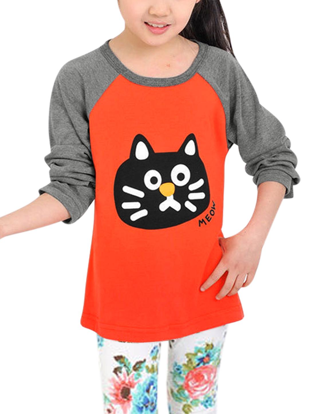 Girls Cat Head Print Contrast Colar Raglan Sleeves Top Orange 14