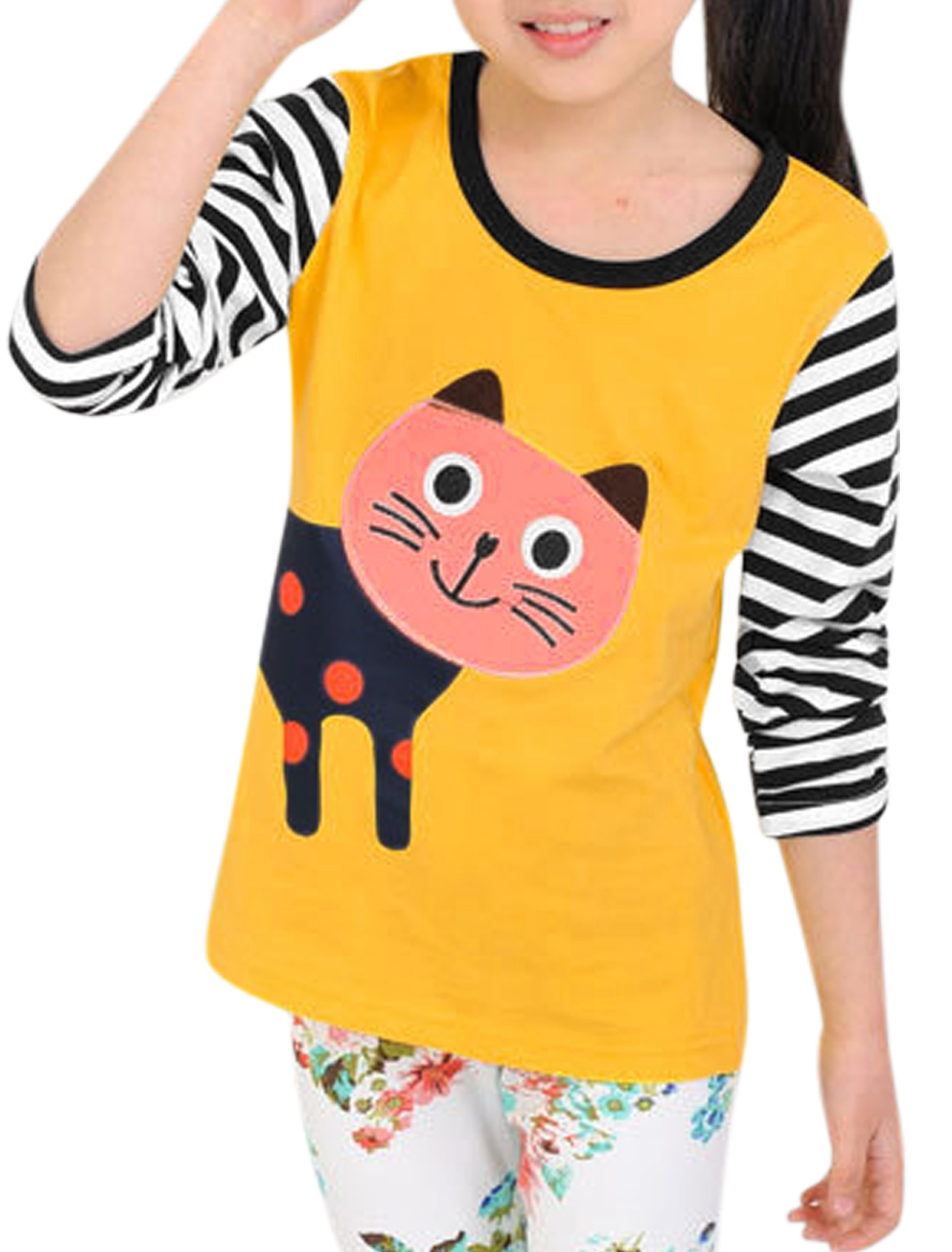 Girls Stripes Cartoon Cat Applique Casual Tee Yellow 6