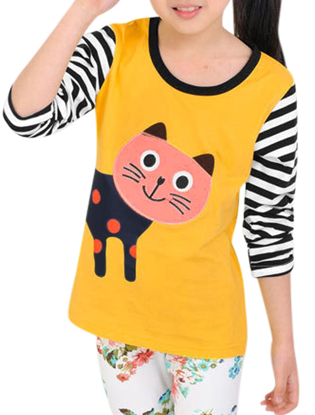 Girls Stripes Cartoon Cat Applique Long Sleeves Top Yellow 12