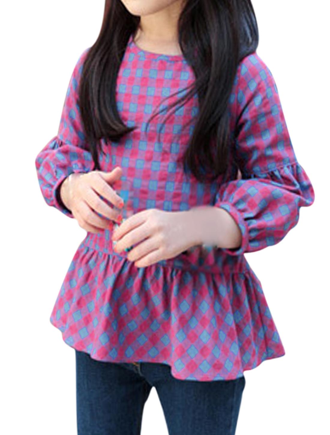 Girls Plaids Bracelet Sleeves Peplum Top Purple 10