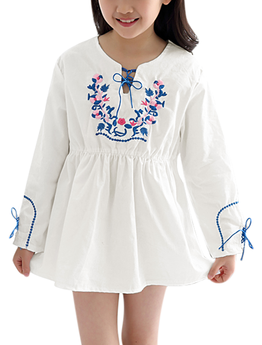 Girls Floral Embroidered Long Sleeves A Line Dress White 10