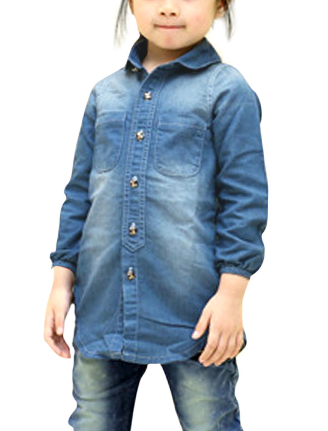 Girls Doll Collar Chest Pockets Tunic Denim Shirt Allegra Kids Blue 10