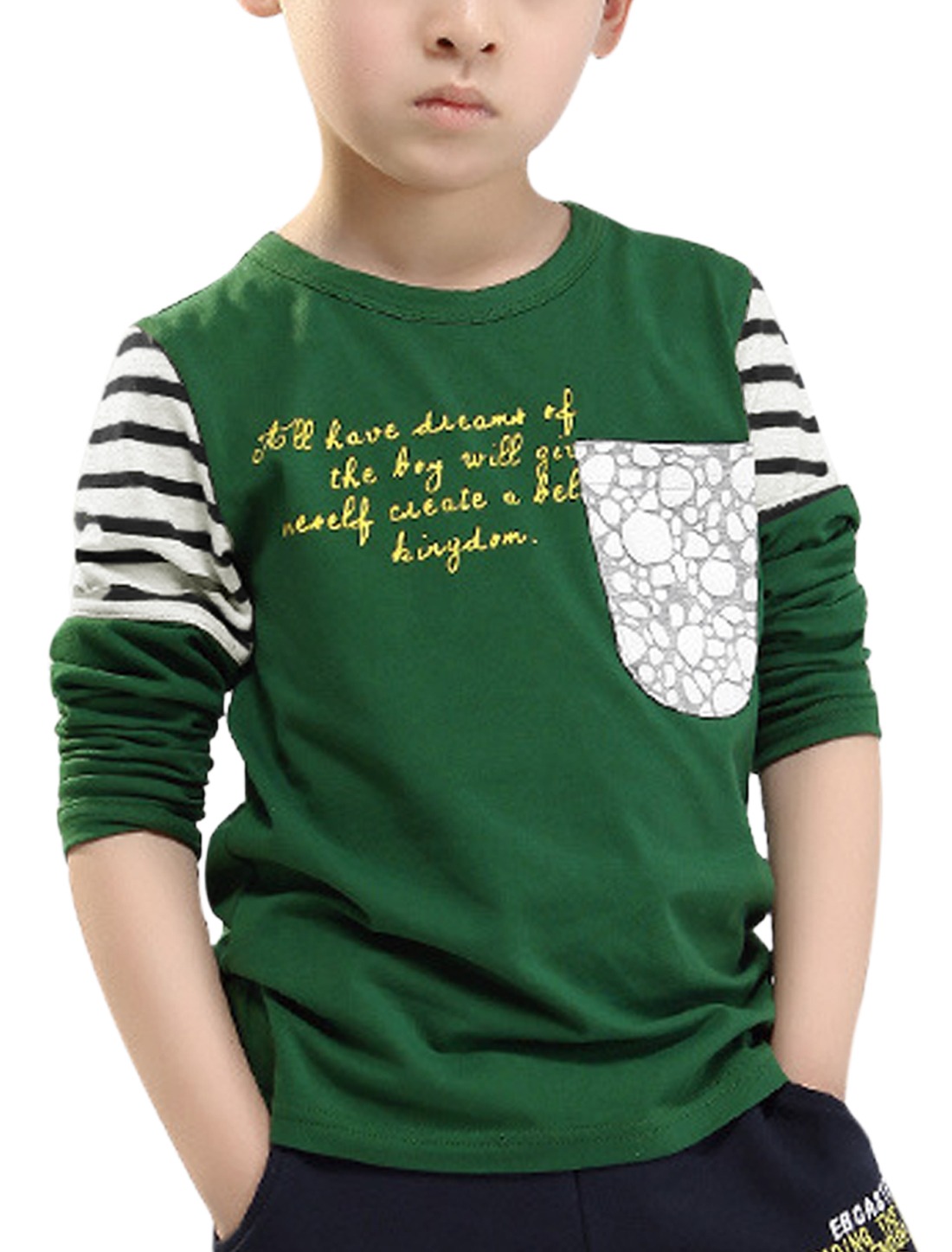 Boys Letters Prints Patch Pockets Front T-shirt Green 8