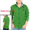 Boy Point Collar Button Down Stripes Detail Shirt Allegra Kids Green 20