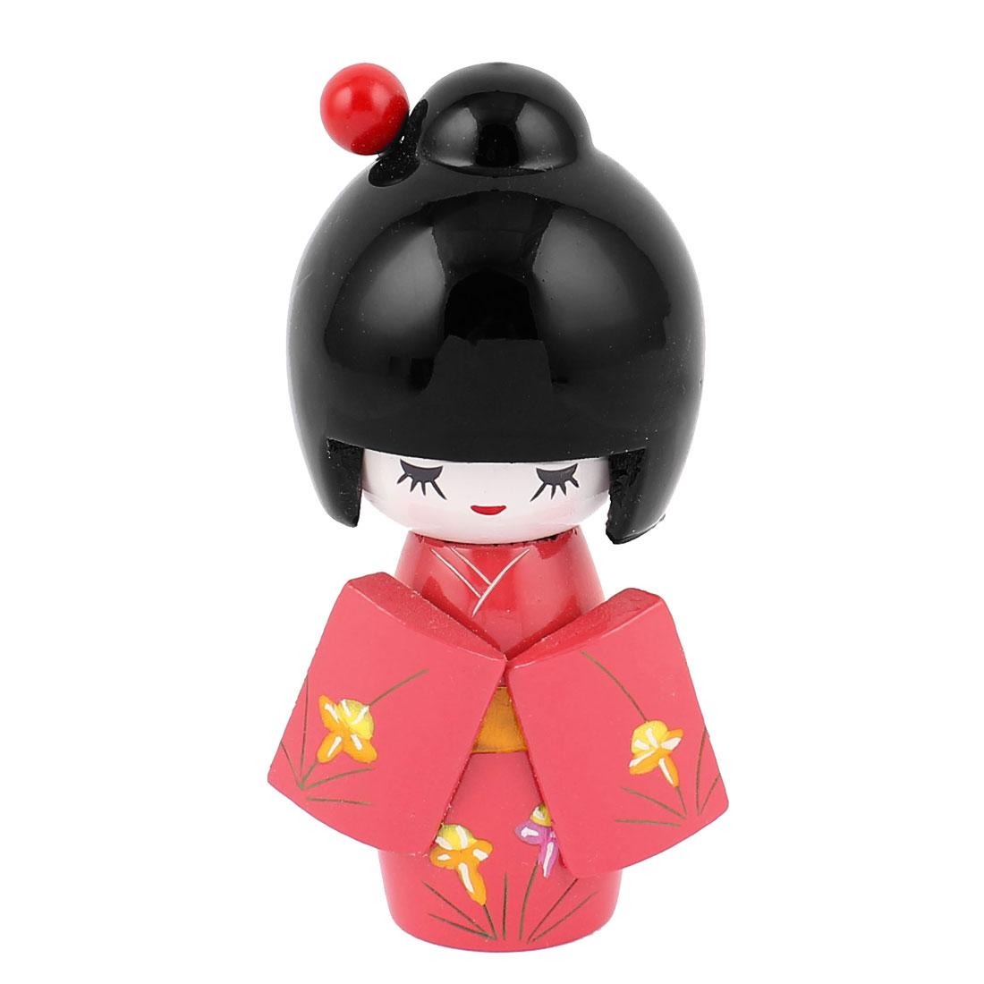 Red Japanese Kimono Smiling Girl Wooden Kokeshi Doll