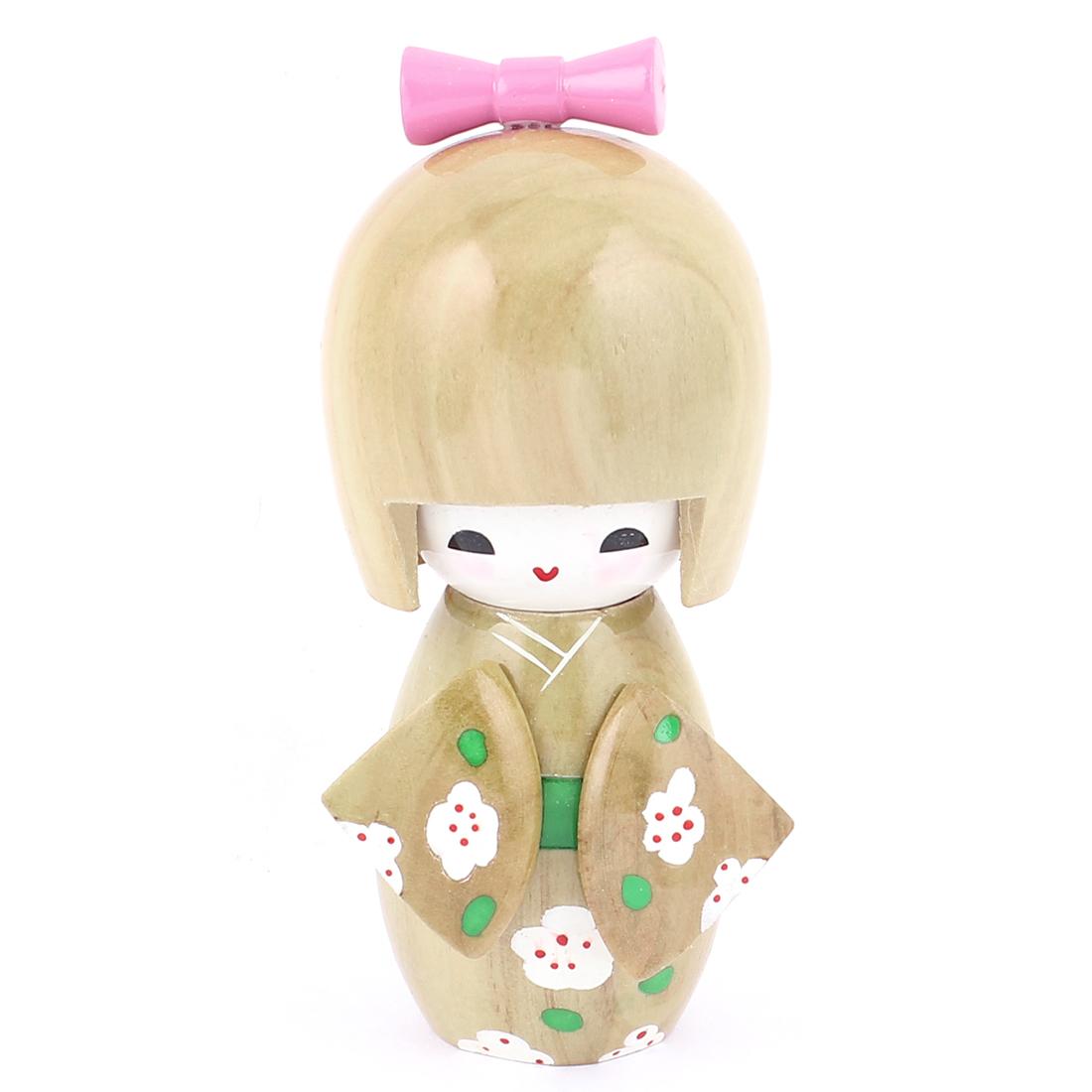 Wooden Flower Print Japanese Girl Kimono Beige Kokeshi Doll