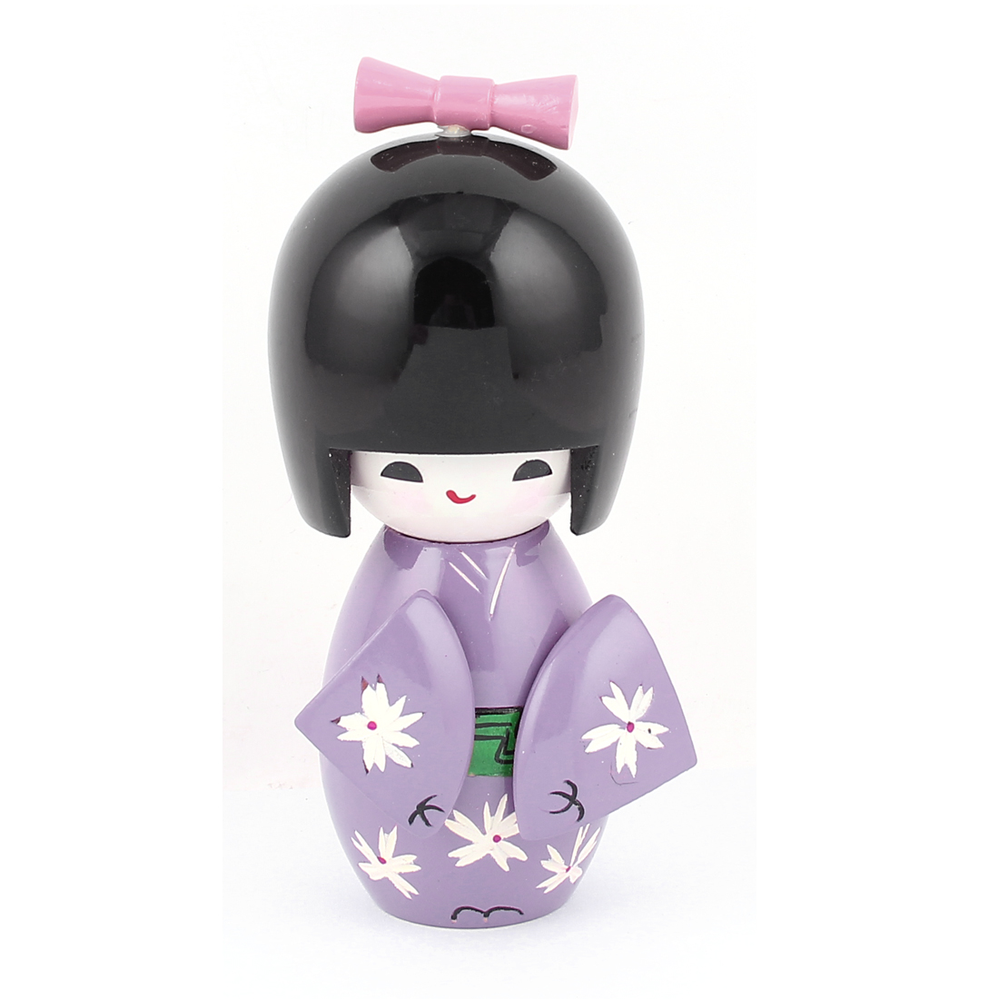 Flower Printed Light Purple Kimono Black Head Wooden Kokeshi Doll