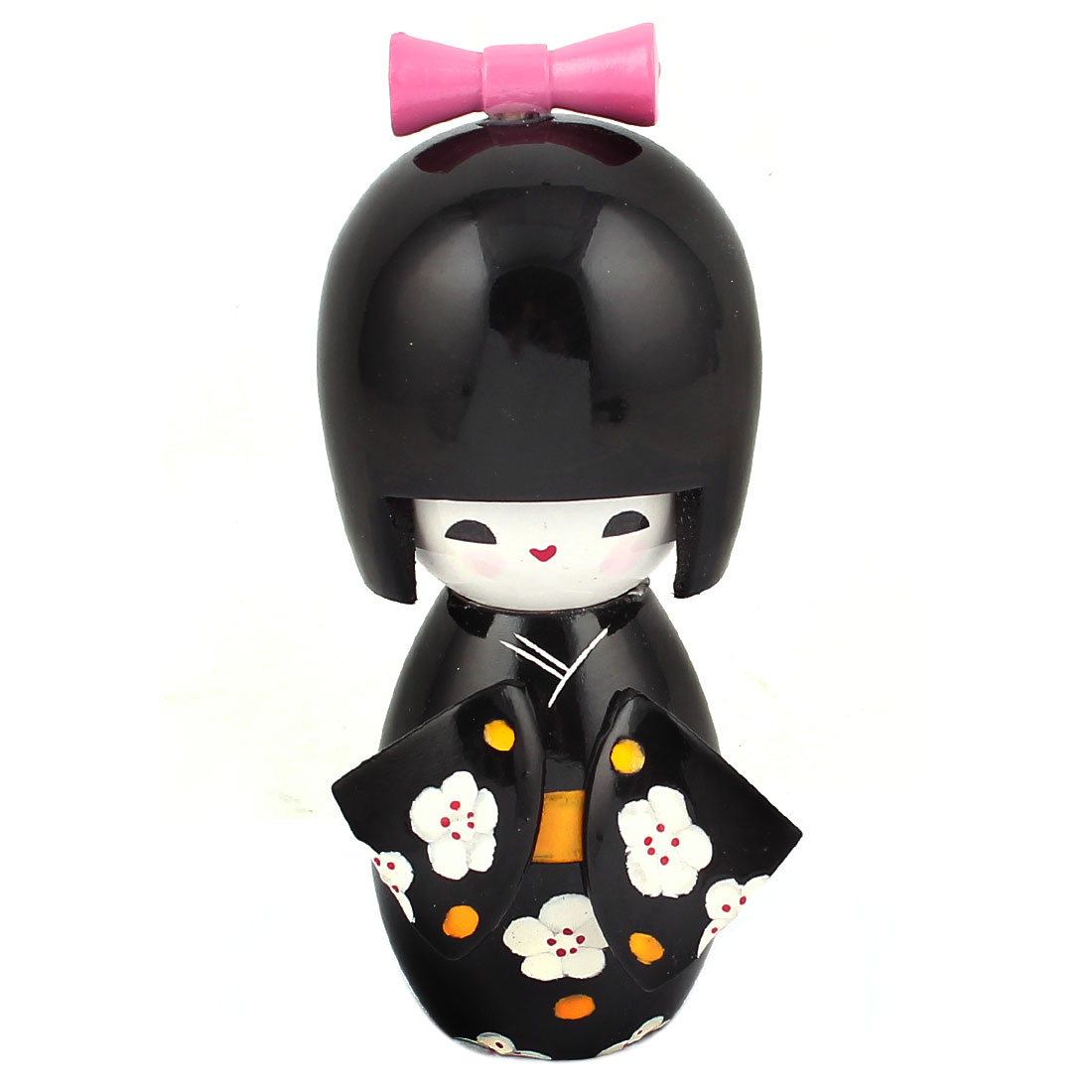 Japanese Girl Style Flower Pattern Wooden Black Craft Doll