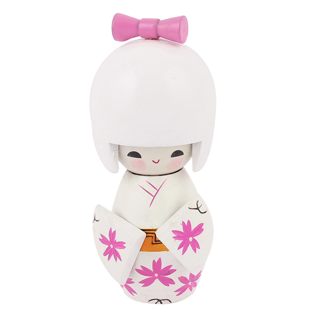 Flower Printed Pattern White Kokeshi Japanese Doll